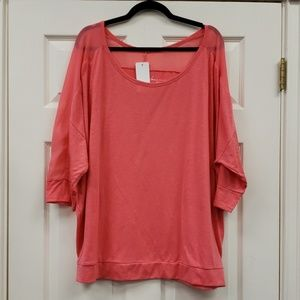 🛍 Lane Bryant Coral Blouse 3/4 Sleeve, 22/24